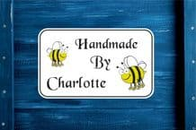 Personalised Handmade by with fun bees Gift Bag, Sticker